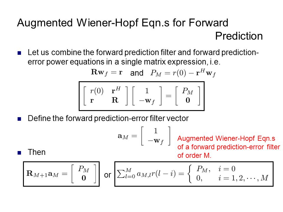 Augmented Wiener-Hopf Eqn.s for Forward Prediction