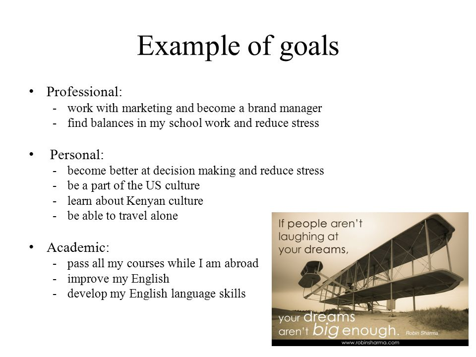 goals essay examples Attending college is the first step to a better future throughout life there will be many goals to accomplish but some of the most important goals to accomplish will be during the time you are in college.