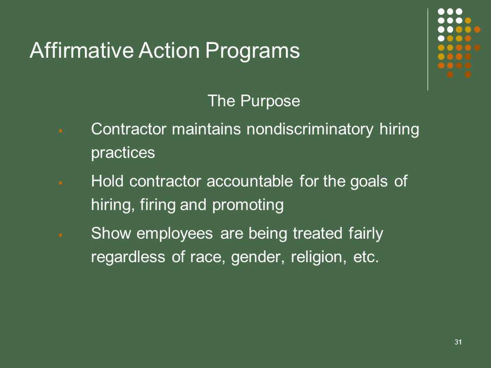 arguments for affirmative action in workplaces Affirmative action is another part of this argument is that affirmative action taints minorities in the workplace the arguments for affirmative action are.