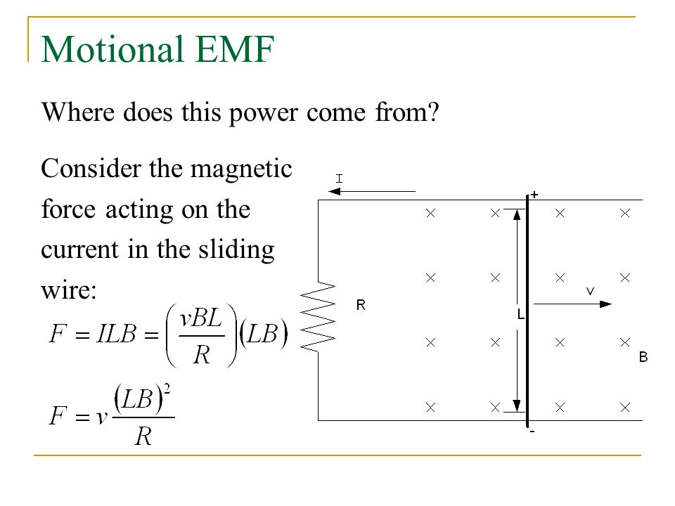 Motional EMF Where does this power come from Consider the magnetic
