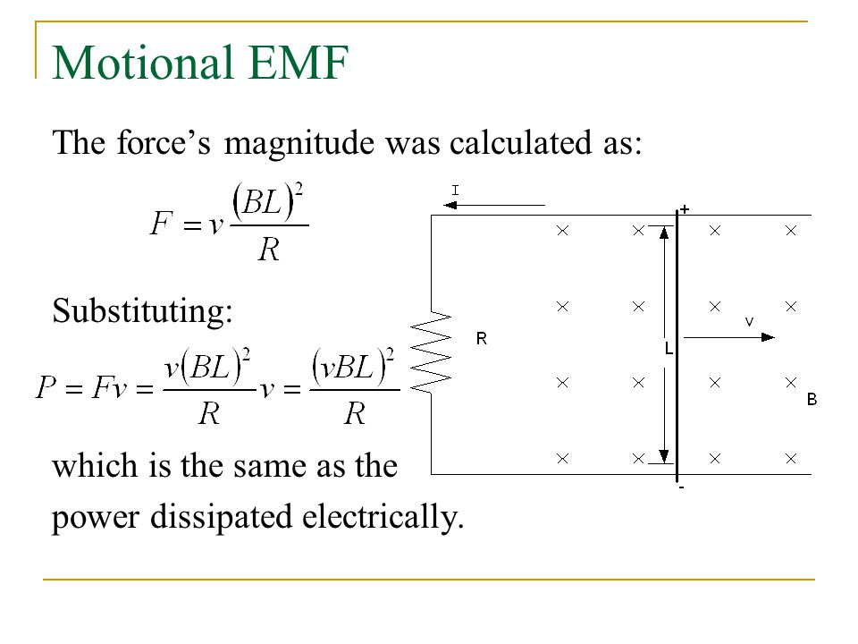 Motional EMF The force's magnitude was calculated as: Substituting:
