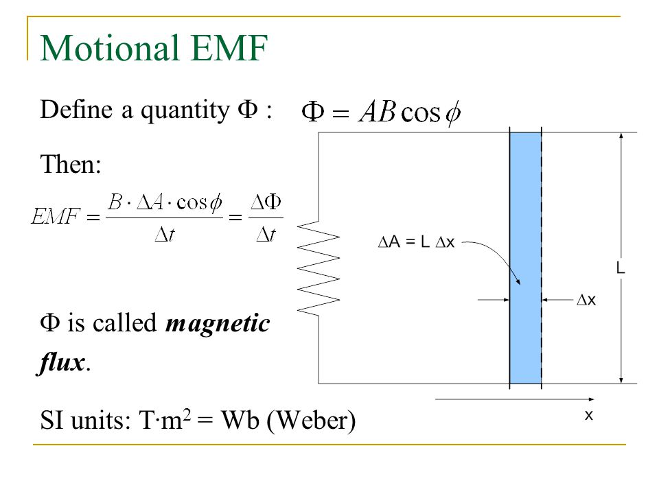 Motional EMF Define a quantity F : Then: F is called magnetic flux.