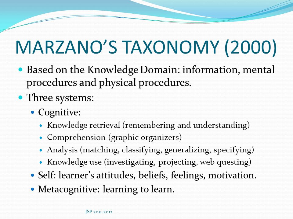 MARZANO'S TAXONOMY (2000) Based on the Knowledge Domain: information, mental procedures and physical procedures.