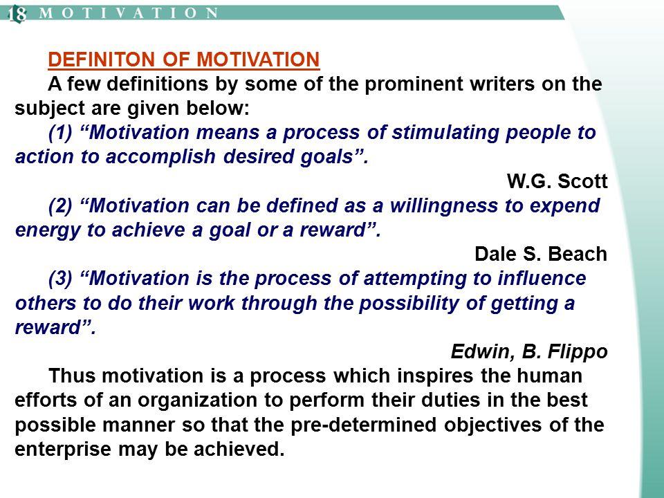 DEFINITON OF MOTIVATION