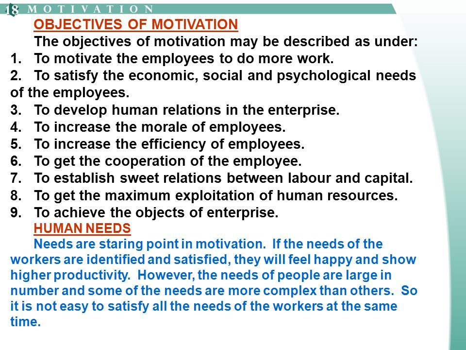 OBJECTIVES OF MOTIVATION