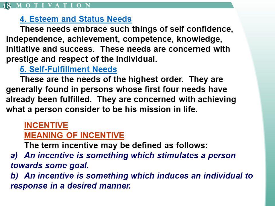 4. Esteem and Status Needs