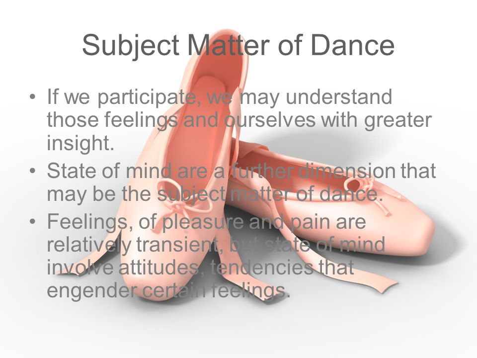 Subject Matter of Dance