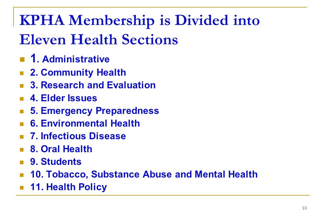 KPHA Membership is Divided into Eleven Health Sections