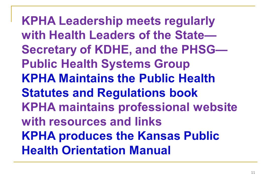 KPHA Leadership meets regularly with Health Leaders of the State—Secretary of KDHE, and the PHSG—Public Health Systems Group
