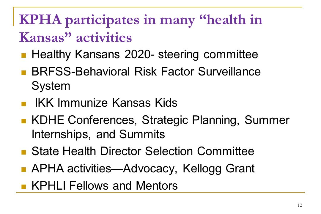KPHA participates in many health in Kansas activities