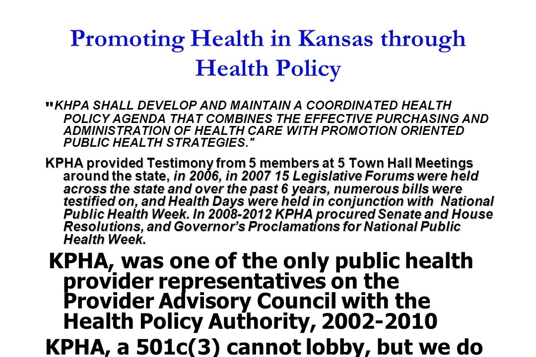 Promoting Health in Kansas through Health Policy