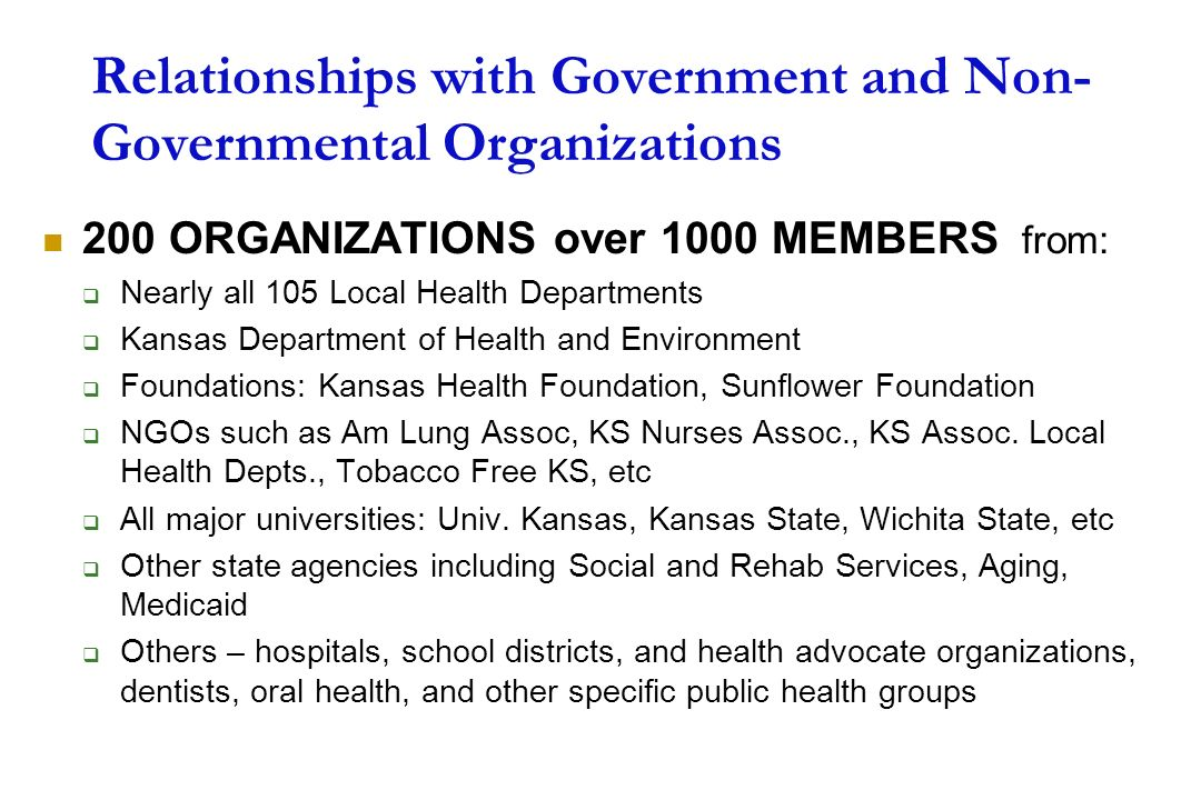 Relationships with Government and Non-Governmental Organizations