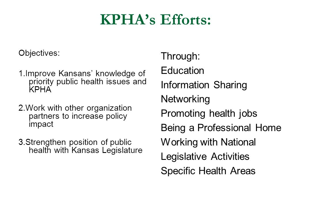 KPHA's Efforts: Through: Education Information Sharing Networking