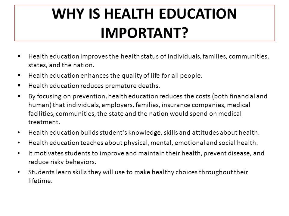 importance health education The mission of the section is: to be a strong advocate for health education and health promotion for individuals, groups and communities, and systems and support.