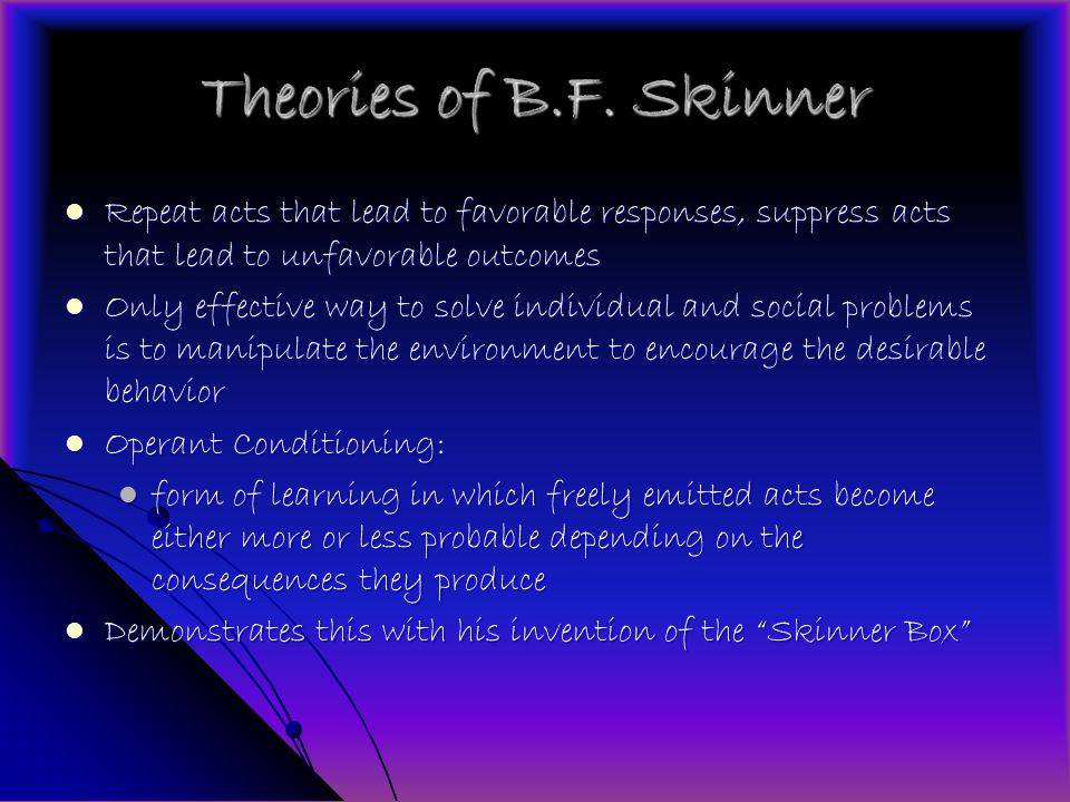 essay skinner Biographical information  skinner discovered that the rate with which the rat pressed the bar depended not on any preceding stimulus.
