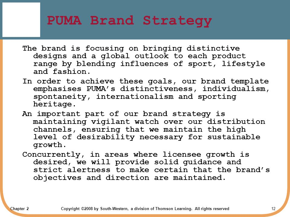 puma marketing strategies Graphs adidas marketing strategy by: syreena & eric adidas' mission is to be the leading sports brand in the world the company has established itself in the fifa world cup and nba all star games, it is also everywhere else in the world like where sports are played, watched, enjoyed and celebrated.