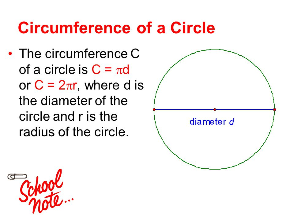 circumference of 1 2 of a circle Task suppose we define $\pi$ to be the circumference of a circle whose diameter is 1: explain why the circumference of a circle with radius $r \gt 0$ is $2\pi r.