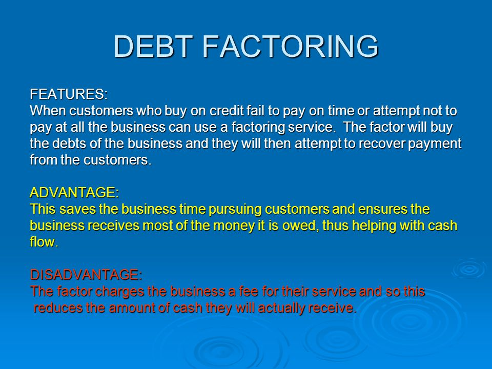 debt factoring A factoring arrangement is a purchasing agreement under which a person or entity acquires the outstanding debts, invoices, and.