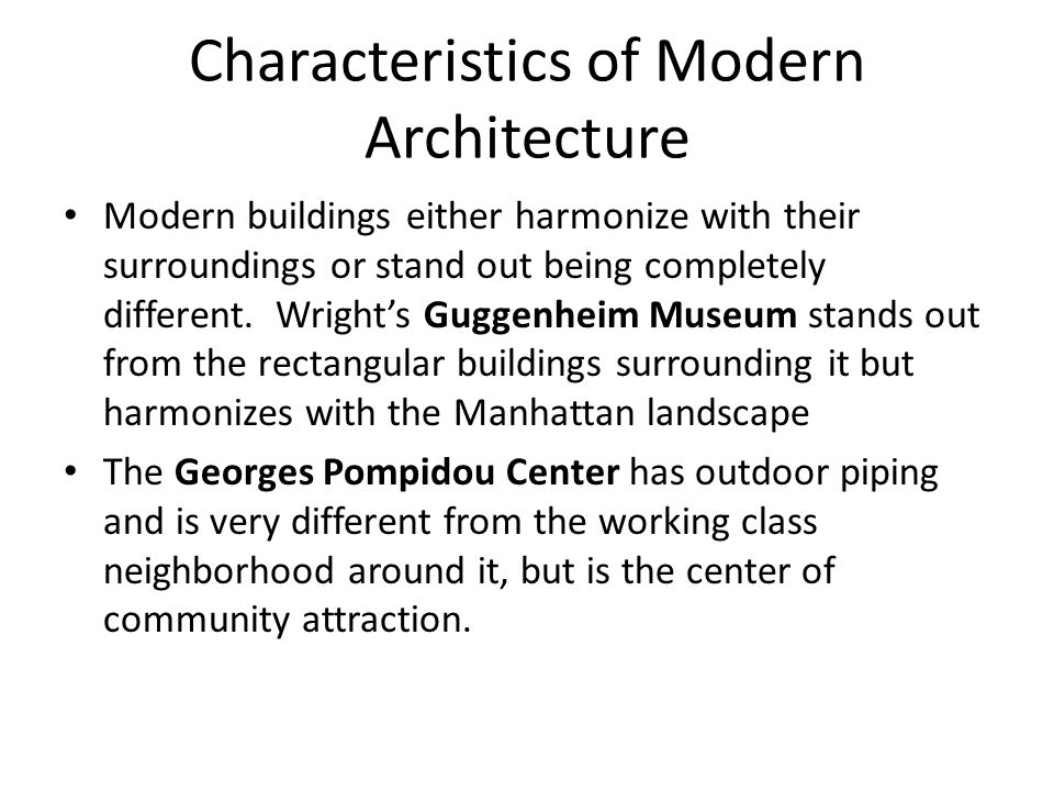 Modern Architecture Characteristics late twentieth-century art today - ppt  video online download