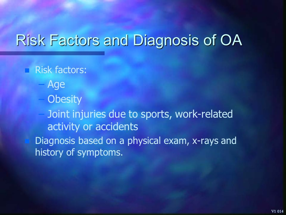 Risk Factors and Diagnosis of OA
