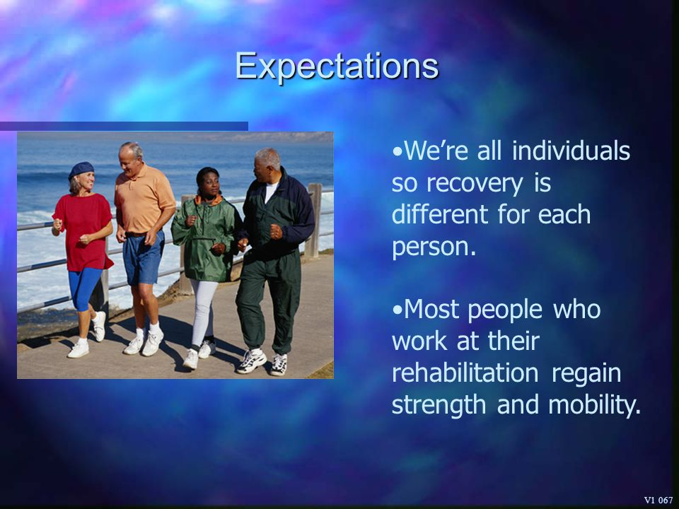 Expectations We're all individuals so recovery is different for each person.