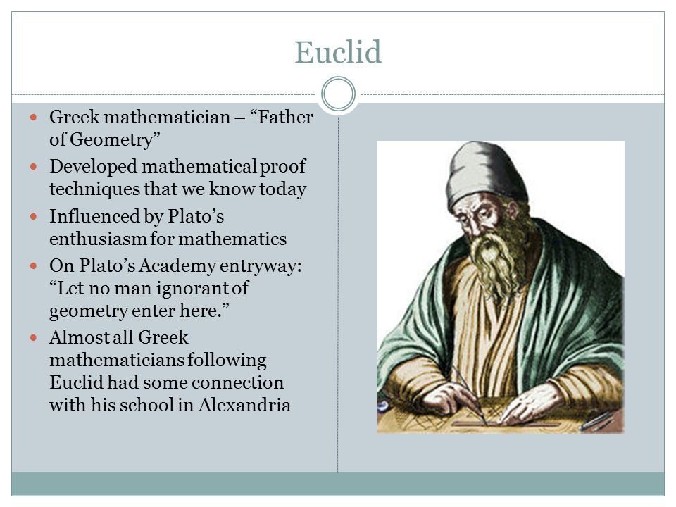 euclidean geometry essays A geometry in which euclid's fifth postulate holds, sometimes also called parabolic geometry two-dimensional euclidean geometry is called plane geometry, and three-dimensional euclidean geometry is called solid geometry.
