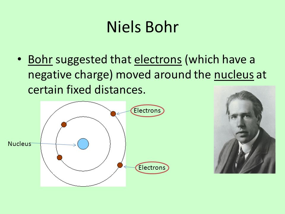 Niels Bohr Bohr suggested that electrons (which have a negative charge) moved around the nucleus at certain fixed distances.