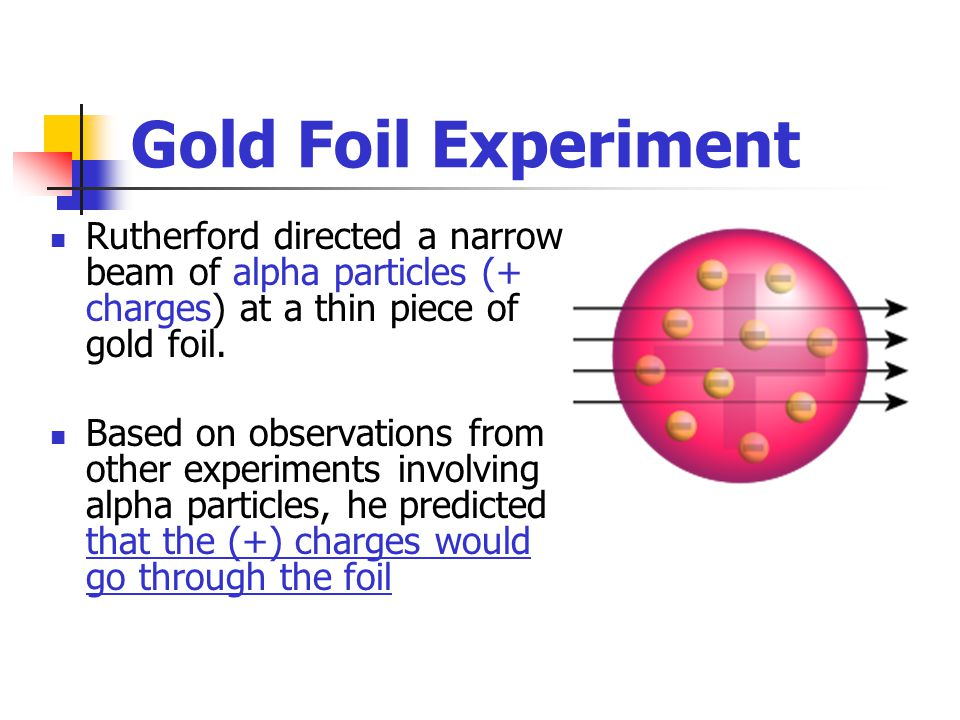 Gold Foil Experiment Rutherford directed a narrow beam of alpha particles (+ charges) at a thin piece of gold foil.