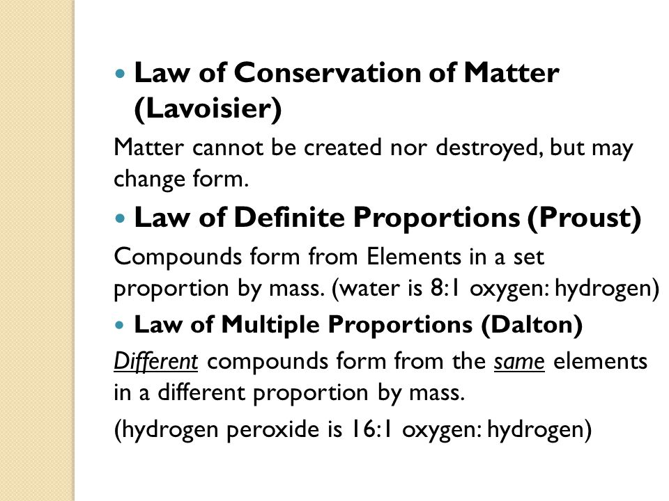 Law of Conservation of Matter (Lavoisier)