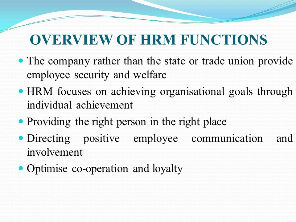 central function of hrm Public sector performances, a case study on central  master's  thesis entitled the role of human resource management in.