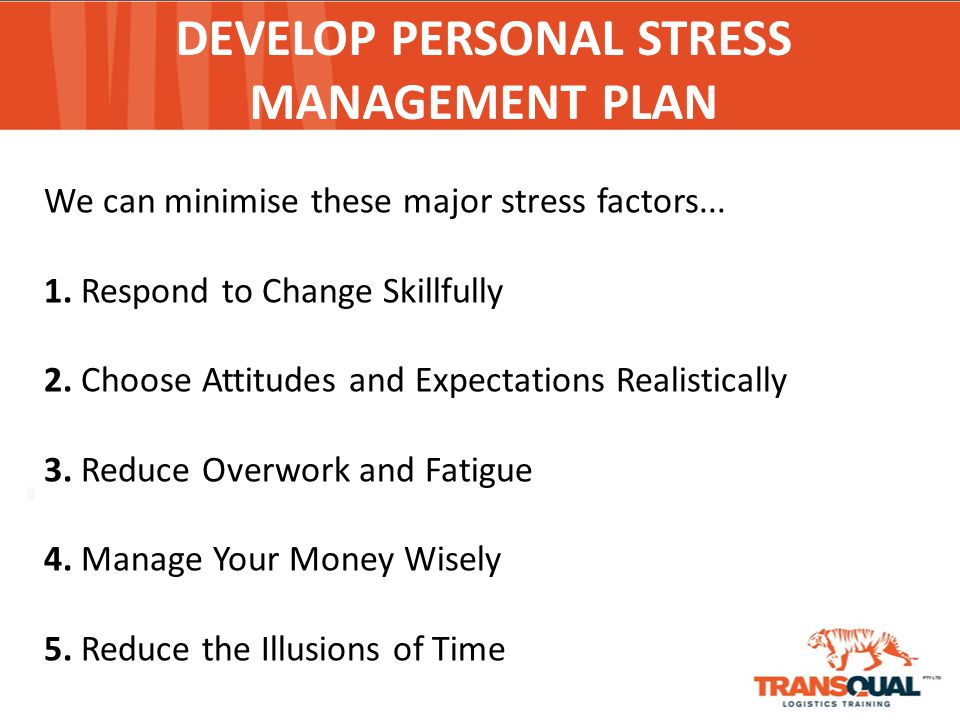 personal stress management plan View homework help - sos-320 written assignment 4a from sos 320 at thomas edison state written assignment 4a: personal stress management plan - due week 9 read chapter 18, readiness /complete the.