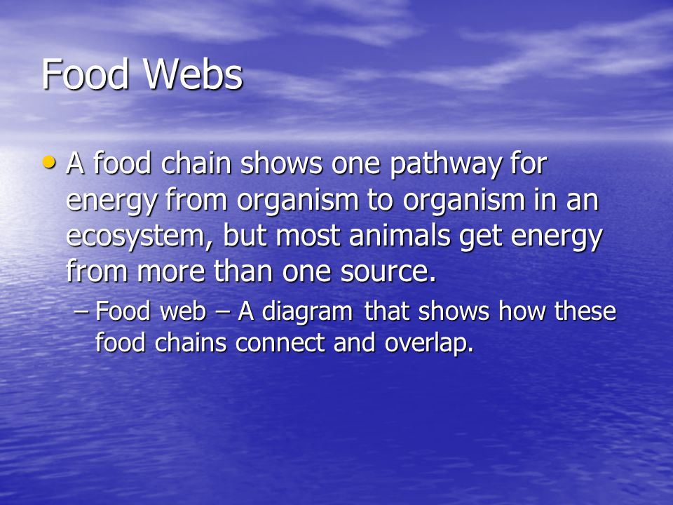 Food Webs A food chain shows one pathway for energy from organism to organism in an ecosystem, but most animals get energy from more than one source.