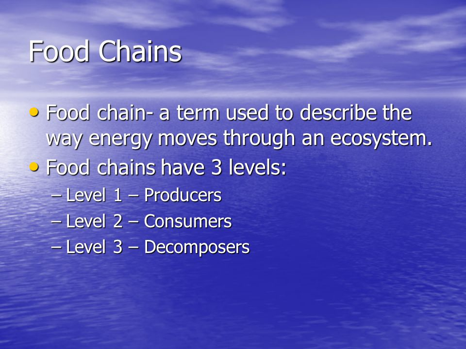 Food Chains Food chain- a term used to describe the way energy moves through an ecosystem. Food chains have 3 levels: