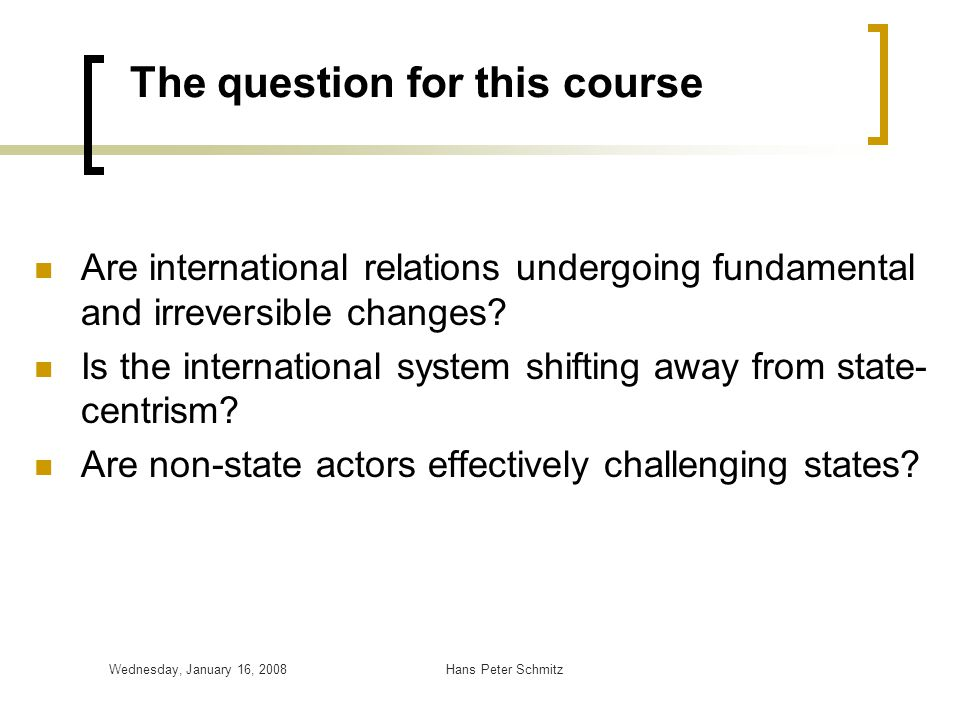 The question for this course