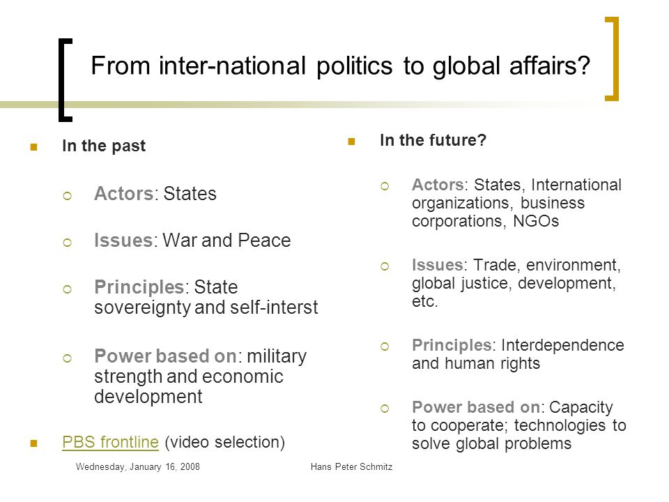 From inter-national politics to global affairs