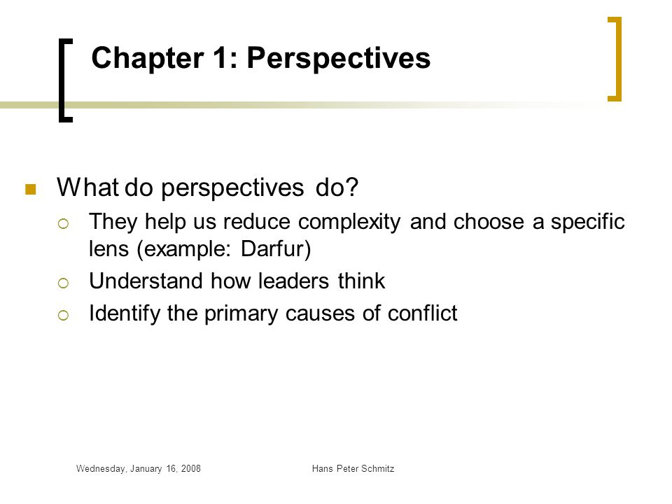 Chapter 1: Perspectives