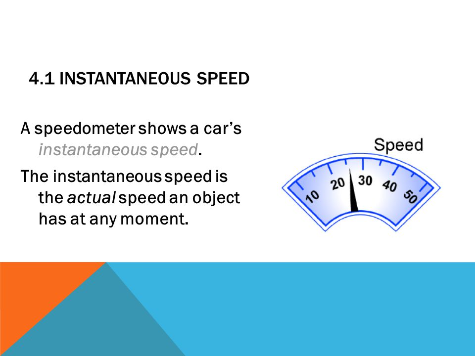 4.1 Instantaneous speed A speedometer shows a car's instantaneous speed.