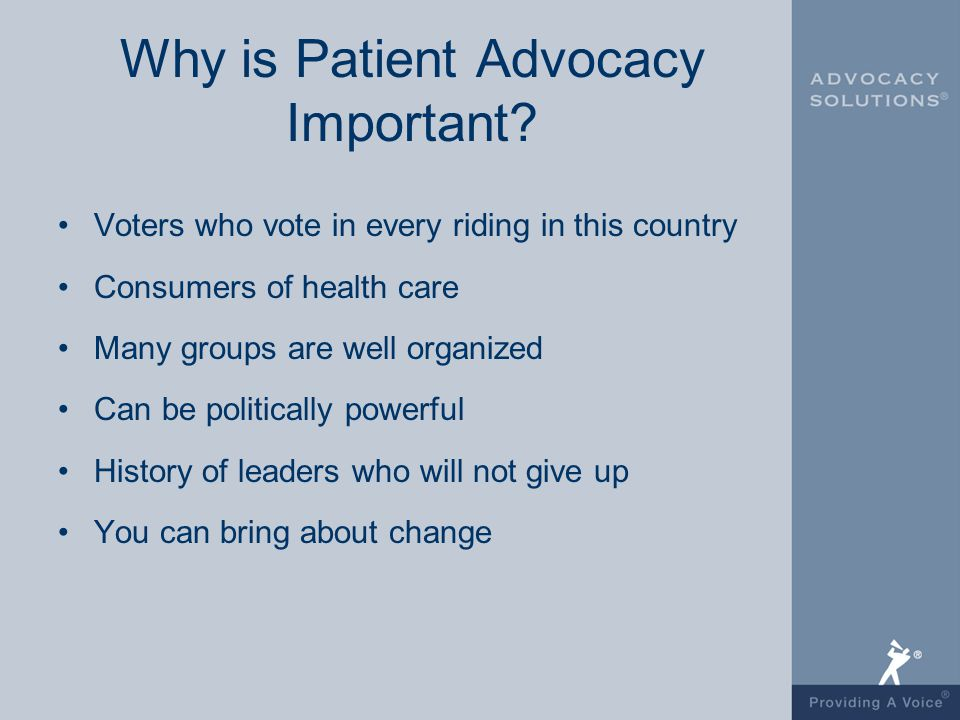 the importance of patient advocacy essay The ana also addresses the importance of advocacy in its code of ethics, specifically in provision 3: the nurse promotes, advocates for, and protects the rights, health, and safety of the patient.