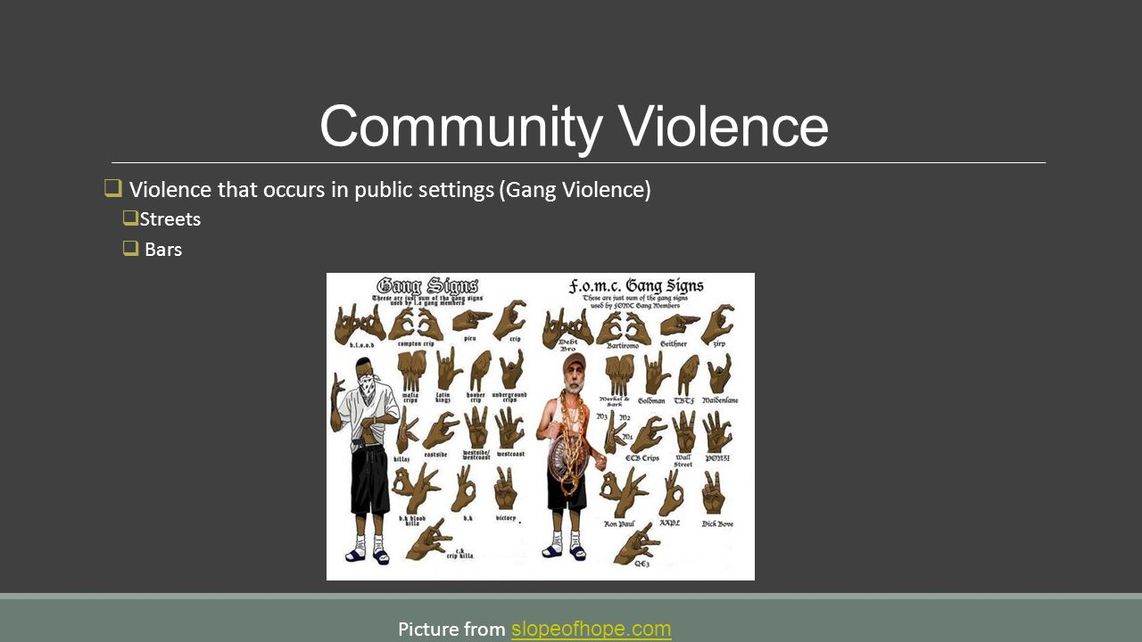 Community Violence Violence that occurs in public settings (Gang Violence) Streets.