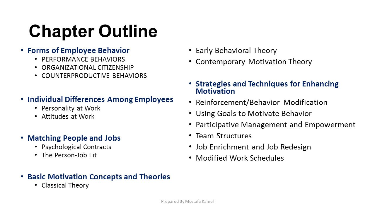outline for organizational behavior This course exposes students to advanced behavioral science theories and  applications in management organizational behavior (ob) is an interdisciplinary .