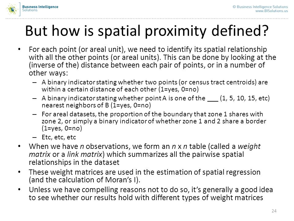 But how is spatial proximity defined