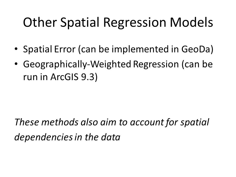 Other Spatial Regression Models