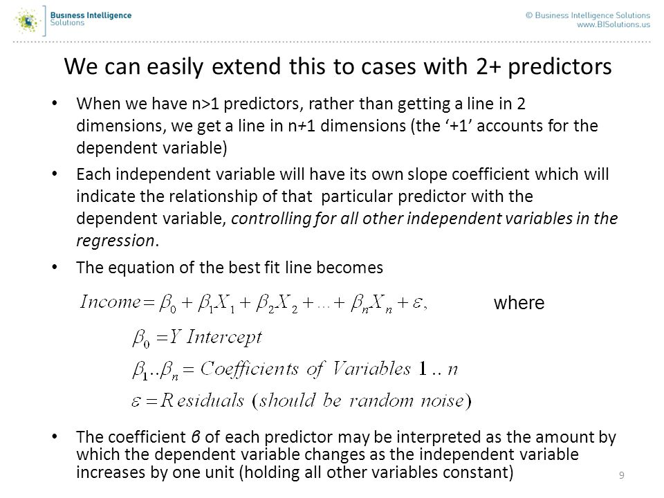 We can easily extend this to cases with 2+ predictors
