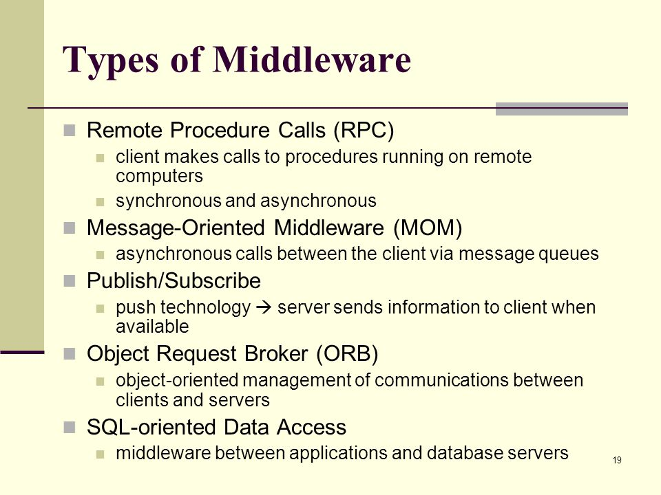 Types of Middleware Remote Procedure Calls (RPC)