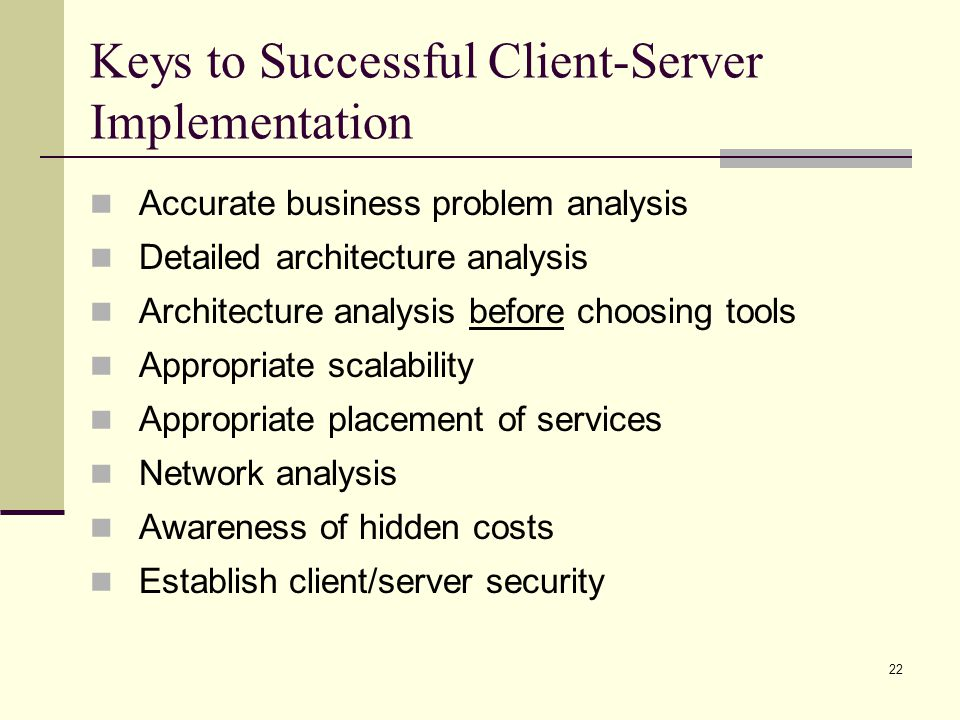 Keys to Successful Client-Server Implementation