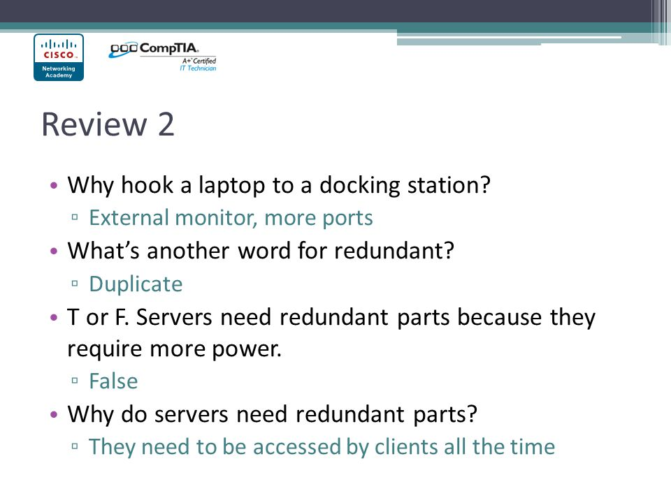 Review 2 Why hook a laptop to a docking station