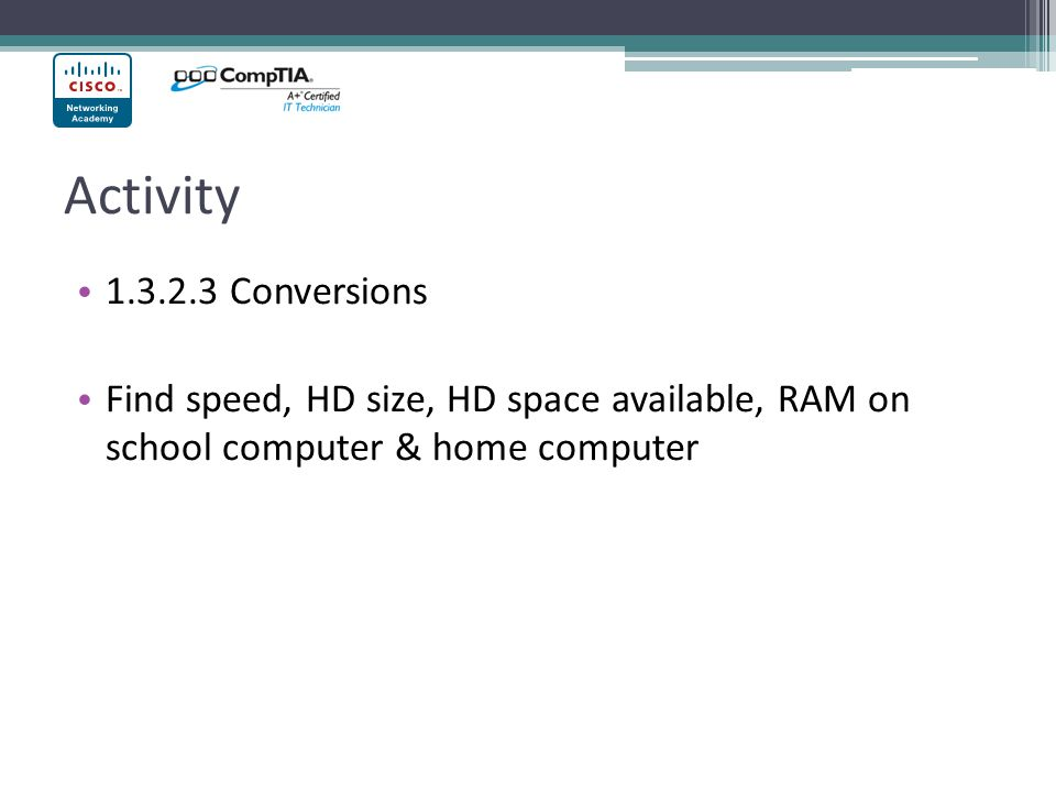 Activity Conversions.