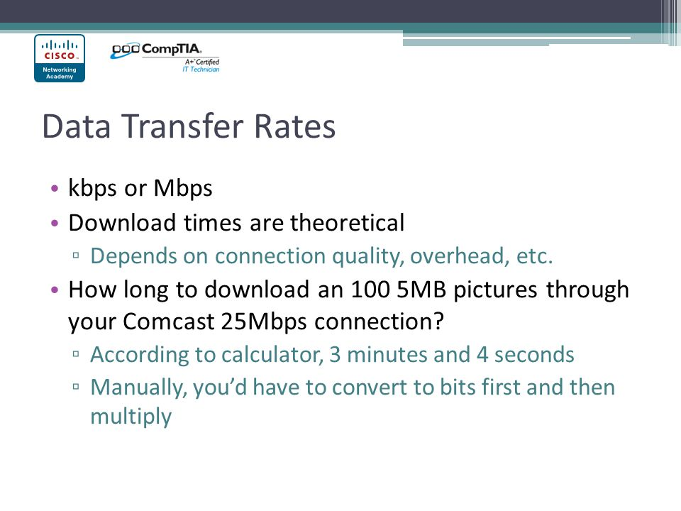 Data Transfer Rates kbps or Mbps Download times are theoretical