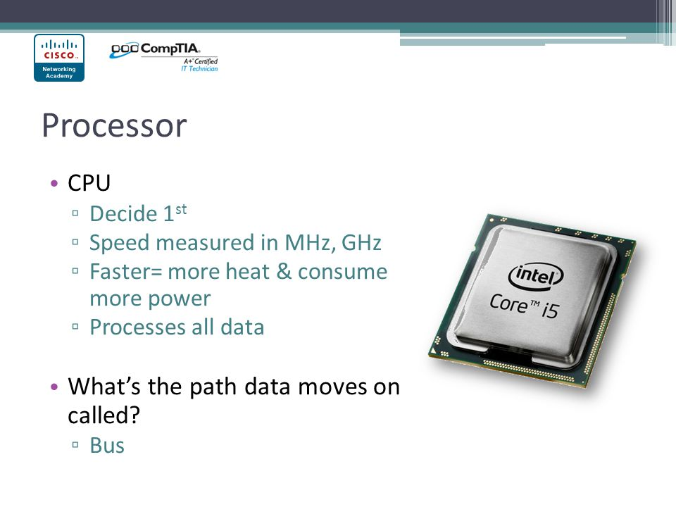 Processor CPU What's the path data moves on called Decide 1st