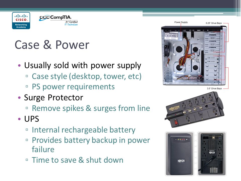 Case & Power Usually sold with power supply Surge Protector UPS